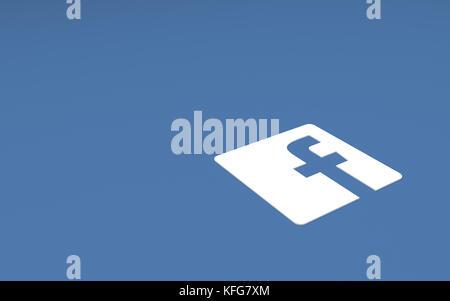 Tehran  IRAN-April 21 2016- Social Network Facebook Sign, The Logo of The Brand 'Facebook' - Stock Photo
