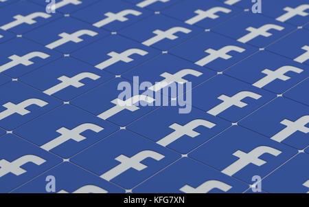 Tehran  IRAN-April 21 2016- Social Network Facebook Signs Pattern, 3D Illustration, 3D renderings - Stock Photo
