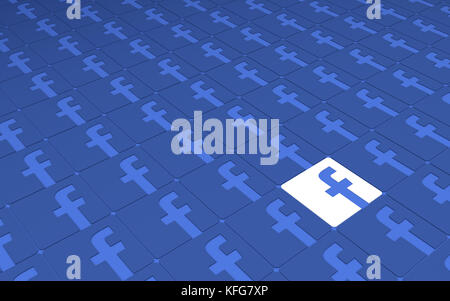 Tehran  IRAN-April 21 2016- Social Network Facebook Signs Pattern, 3D Illustration, 3D renderings - Stock Photo