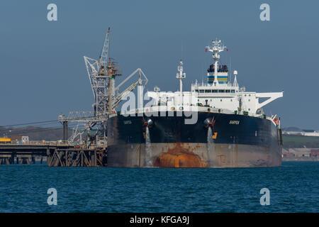 Supertanker Sarpen unloading at Valero Oil Terminal, Milford Haven