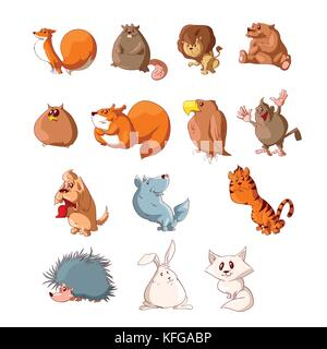 Collection of colorful vector cartoon cute animals illustrations - Stock Photo