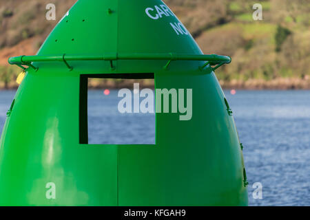 View through Carr Spit buoy No.2 at Pembroke Dock - Stock Photo