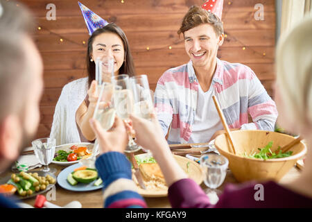 Happy Couple Celebrating Birthday at Dinner - Stock Photo