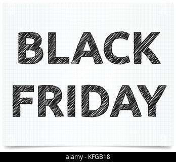 Black Friday inscription on exercise book. Pen style text. - Stock Photo