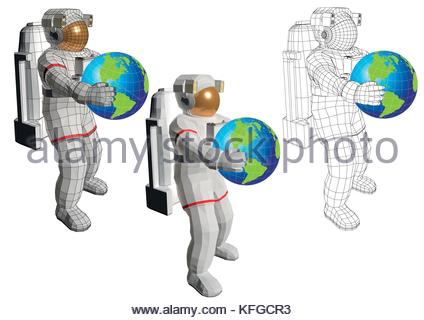 Wireframe Astronaut In Space Suit Equipped With Extravehicular Stock