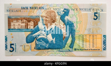 Royal Bank of Scotland £5 five pounds paper banknote special commemorative issue featuring golfer Jack Nicklaus, - Stock Photo