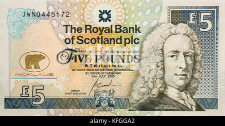 Royal Bank of Scotland £5 five pounds paper banknote special commemorative issue features golfer Jack Nicklaus, - Stock Photo
