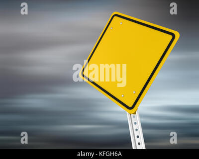 Blank road sign , computer generated image. 3d render. - Stock Photo