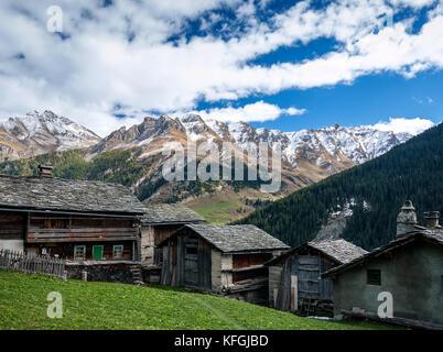 traditional swiss alps rural houses in vals village alpine switzerland - Stock Photo