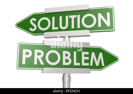 Problem and solution green road sign. 3D rendering - Stock Photo