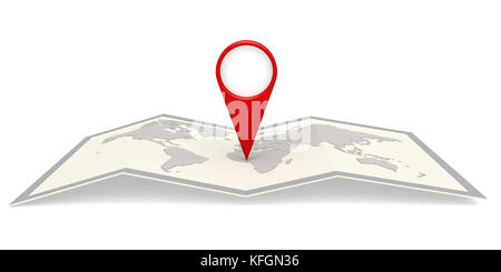 World map in frame with pin pointer. 3D rendering - Stock Photo