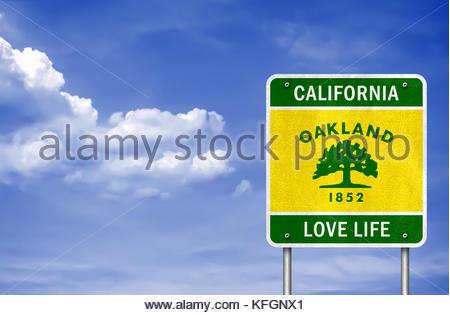 California - Oakland motto love life - Stock Photo