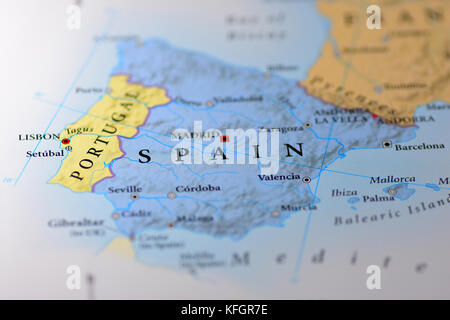 Closeup map of the country Portugal located in Europe Stock Photo