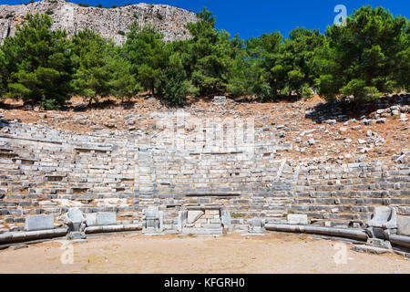 Ruins of the theatre in ancient city of Priene destroyed by an earthquake. - Stock Photo