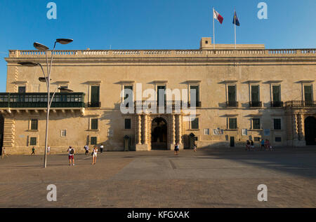Front exterior facade of the Grandmaster's Palace, Valletta, Malta. Taken later afternoon or early evening / end - Stock Photo