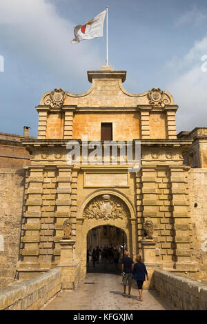 The main defensive entrance gate defence to the historic and ancient walled city of Mdina in Malta. (91) - Stock Photo