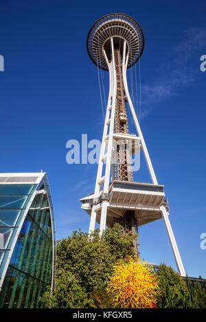 WA14137-00...WASHINGTON - View of glass work and the Space Needle from the Chihuly Garden And Glass located in the - Stock Photo