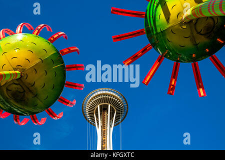 WA14144-00...WASHINGTON - Display called Sonic Bloom with the Space Needle located in the Seattle Center. - Stock Photo