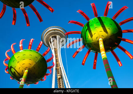 WA141445-00...WASHINGTON - Display called Sonic Bloom with the Space Needle located in the Seattle Center. - Stock Photo