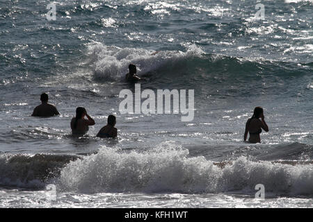 Mediterranean lifestyle. Swimmers enjoying themselves in the sea. Summer holidays. - Stock Photo