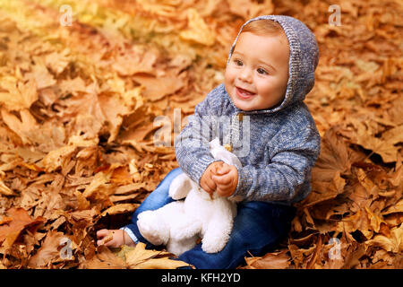 Cute little baby boy sitting on the ground covered with dry leaves in the park, little cheerful child playing with - Stock Photo