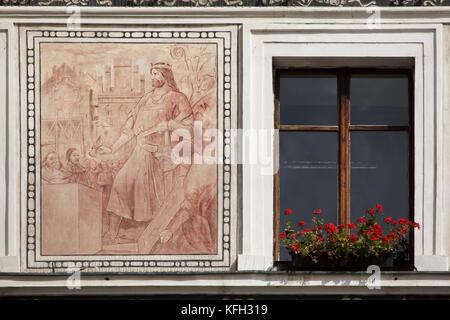Holy Roman Emperor Charles IV lays the foundation stone for the reconstruction of Saint Bartholomew's Church (Kostel - Stock Photo