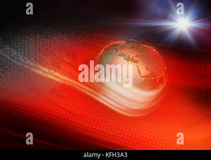 Red Theme Digital World Technology Background, Waving Lines Passing Through Digital Space Around the Earth Globe. - Stock Photo