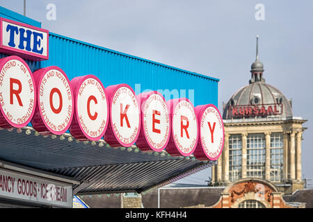 SOUTHEND-ON-SEA, ESSEX:  Sign above the Rockery - a Confectionery and Gift Shop on the seafront with the Kursaal - Stock Photo
