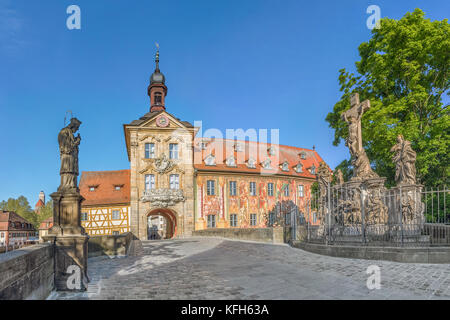 Old Town Hall (Altes Rathaus) of Bamberg and Upper Bridge (Obere Bruccke) in Bamberg, Germany - Stock Photo