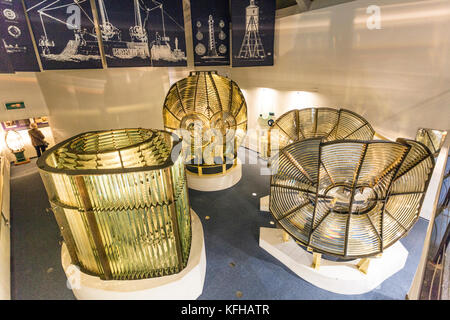 A display of some of the huge lighthouse lenses and prisms in the Museum of Scottish Lighthouses at Fraserburgh, - Stock Photo