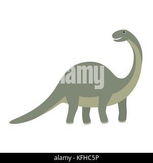Apatosaurus dinosaur icon. Cartoon illustration of apatosaurus dinosaur vector icon for web - Stock Photo
