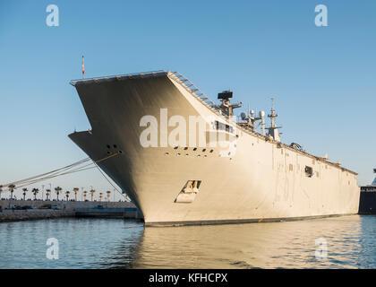 The aircraft carrier Juan Carlos I. October, 29th 2017. Málaga, Spain. - Stock Photo