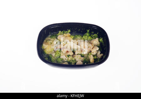 Microwaved Atkins Diet chicken tv dinner - Stock Photo