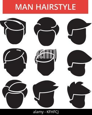 Man hairstyle illustration, thin line icons, linear flat signs, vector symbols, outline pictograms set, editable - Stock Photo
