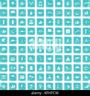 100 sailing vessel icons set grunge blue - Stock Photo