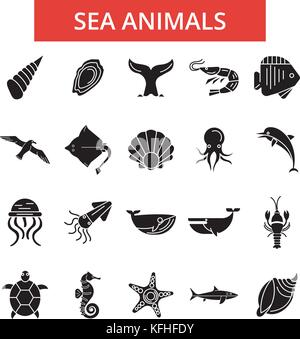 Sea animals illustration, thin line icons, linear flat signs, vector symbols, outline pictograms set, editable strokes - Stock Photo