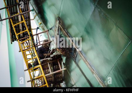 Ship under construction. Welding works. Cam Rahn shipyard, Vietnam. - Stock Photo