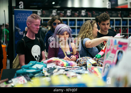 London, UK. 28th October, 2017.  Guests, celebrities, cosplayers and fans at day two of MCM London Comic Con, October - Stock Photo
