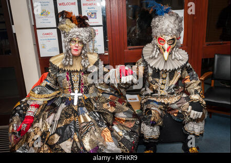 Bonfire Night Celebrations In West Sussex. Dressed in elaborate costumes members of the Phoenix Bonfire Society - Stock Photo