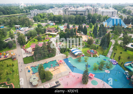 ST. PETERSBURG, RUSSIA - JUNE 26, 2016: Top view of the largest amusement Park in St. Petersburg Divo-Ostrov - Stock Photo