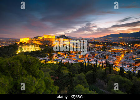 View of Athens from Filopappou hill at sunrise, Greece. - Stock Photo