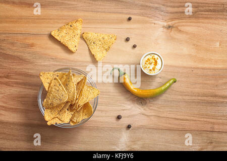 Corn chips in the jar. Traditional snack for beer Mexican nachos - Stock Photo