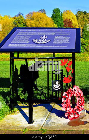 Durham City memorial seat or bench to the Durham pals Durham Light Infantry outside the university - Stock Photo