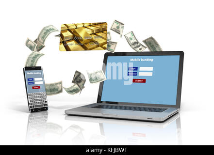 phone and a laptop with the authentication screen, and credit cards isolated on white 3D iillustration - Stock Photo