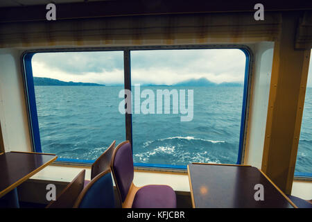 travelling by ship. Sea view from the window - Stock Photo