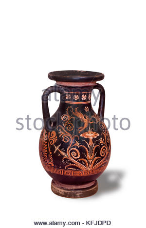 Ancient red-figurd amphora. Amphorae were used for the storage of various products, both liquid and dry, but mostly - Stock Photo