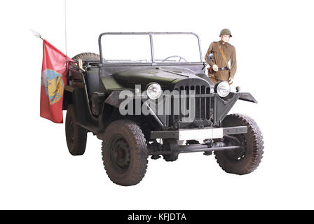 Soviet military 'jeep' (GAZ 67 - model of the 1940's) Along with legendary lend-lease Willys was  base auto for - Stock Photo