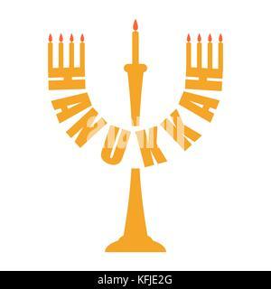 Hanukkah logo. Menorah symbol. Jewish religious holiday. Vector illustration - Stock Photo