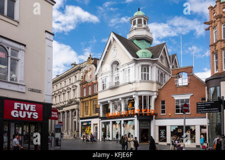 Shops on High Street, Leicester, Leicestershire, East Midlands, UK - Stock Photo