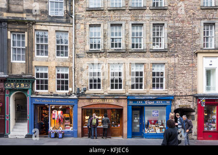 Shop fronts on The Royal Mile in Edinburgh Old Town, Scotland, UK - Stock Photo